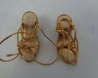 Adorable High Heels- Gold Doll Shoes Sandals Vintage Doll Shoes-Size 5
