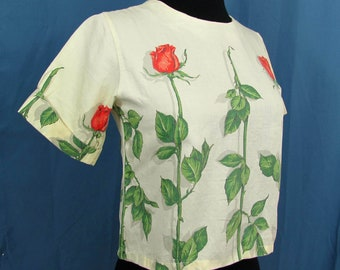 Waist length blouse ombre yellow w/rose print by Palm Island - 1970s - L girls, XS Juniors