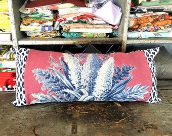 long lumbar pillow, cottage pillow cover lumbar, pillow cover farmhouse, pillow cover and insert, vintage bark cloth fabric, vintage rustic