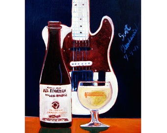 Guitar Painting, Gifts for Boyfriend, Against the Grain Brewery, All Funked Up Beer Art, Kentucky Beer Poster, 21st Birthday Gift, Bar Art