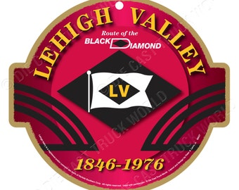 Lehigh Valley Railroad Logo Wood Plaque / Sign