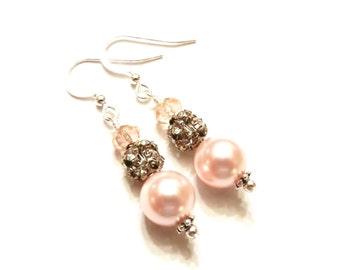 Pink Pearl Earrings, Swarovski Pearls, Pink Earrings, Pearl Dangle Earrings, Rhinestone Earrings, Sterling Silver, Swarovski Earrings