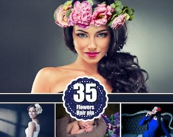 25 flower crown, flower headband, flower hair wreath, hair flowers,  photo overlays, photoshop overlay, for kids women girl bride,  png file