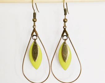 Copper drops earrings and spring lime green enamel