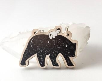 bear pendant- bear necklace - wooden pendant - laser cut necklace