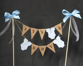 Baby shower cake topper, It's a boy cake bunting, baby boy cake banner, cake flags, cake decoration, gender reveal, mini bunting