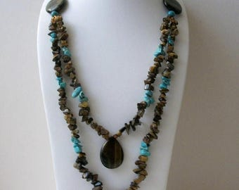 ON SALE Vintage Turquoise Stone Chips African Tigers Eye Stone Chips Pendant Very Long Necklace 32017
