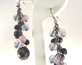 30% Off Sale Dangle Pierced Earrings  Purple Swirl beads