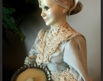 """Hand Painted Vintage Altered Bisque Doll """"Nettie"""""""