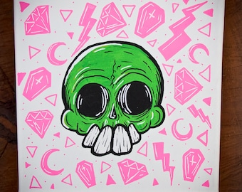 "Saved by the Skull - Original Painting by Manic Lawd - 8"" x 8"""