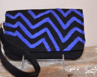 Black & Peacock Chevron Purse Felted