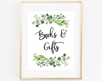 Books and Gifts Printable Baby Shower Sign, Greenery Green Laurel Wreath, Gift Table Sign, Card and Gifts Sign, Baby Books Sign, 70J