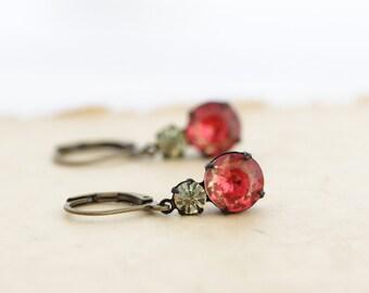 Orange Crystal Earrings - Vintage Jewel Earrings - Glass Drop Earrings - Red Orange Earrings - Elegant Earrings - Colorful Earrings