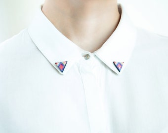 Triangle brooches collar, ethnic collar pins tribal brooches accessories for shirts