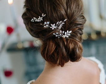 MIST delicate bohemian moonstone bridal comb set, romantic boho wedding headpiece
