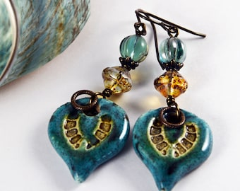 Gypsy Rustic, Bohemian Chic, Ceramic Charms Wire Wrapped Earrings, Czech Glass Earrings