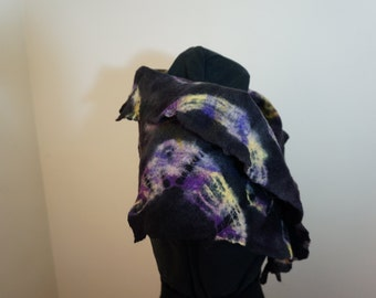 Cobweb felt scarf, tie-dyed black with yellow, purple, and beige accents