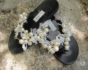 """Black Greek Leather sandals with pearls - """"Pearl Parade"""""""
