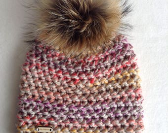Crochet Beanie, super bulky, very large fur Pom Pom, lined with fleece, woman
