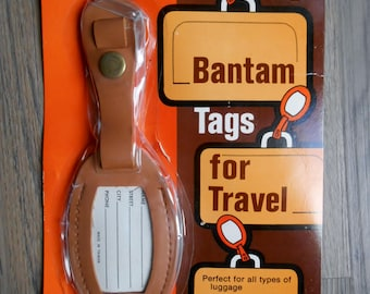 Vintage Full Leather Bantam Luggage Tag NEW NOS