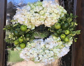 White floral wreath,Summer wreath,Wedding wreath,Spring wreath,Apple wreath,Green apple wreath,Lime wreath,Hydrangea wreath,Mother's Day