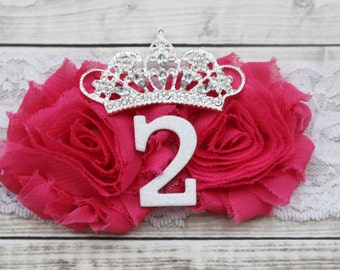 2 year old birthday tiara, shabby chic second birthday headband, pink princess birthday bow, 2nd birthday