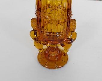 Vintage glass toothpick holder amber