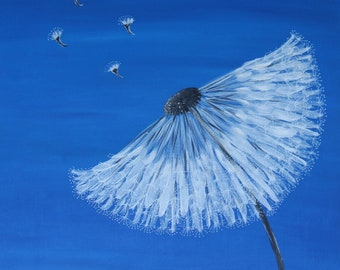 Original Dandelion Acrylic Painting on Stretched Canvas