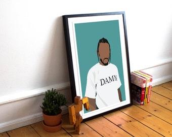 Kendrick Lamar INSPIRED Poster / Kendrick Lamar Print / Minimalist Art / Music Poster / Damn / Hip Hop poster / Rap Poster / Damn Poster