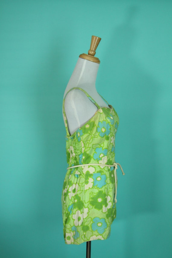 Swimsuit Print 1950s Romper Size Bathing Novelty M Suit Piece S Green Blue and Vintage Floral One SASOwWP7vq