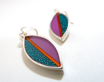 Purple leaves earrings, sterling silver, turquoise,hand made