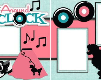 Rock Around the Clock - Digital Scrapbooking Quick Pages - INSTANT DOWNLOAD