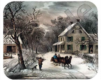 Mouse Pad; Currier Ives - American Homestead Winter