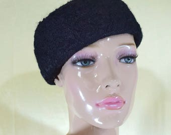 Vintage Wool Felt Cloche Hat Cap Lace Made in Italy