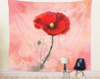 WALL TAPESTRY, Watercolor Poppy Painting, Large Wall Decor, Hot Red Tapestry, Floral Tapestry Hanging, Poppy Painting Wall Hanging