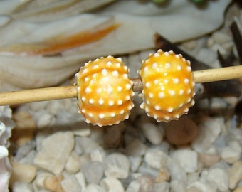 """2 chunky  yellow orange 3/4"""" handmade ceramic sea urchin beads - for necklace or jewelry creations porcelain ceramic bold statement size"""