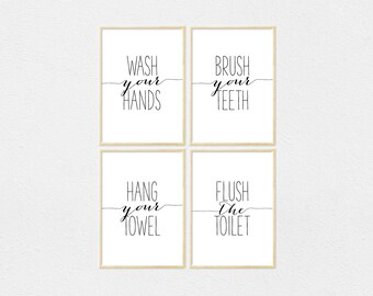 Bathroom Print Set Wash Your Hands Brush Your Teeth Hang Your Towel Flush The Toilet, Bathroom Quotes, Bathroom Quote Printable Bathroom Art