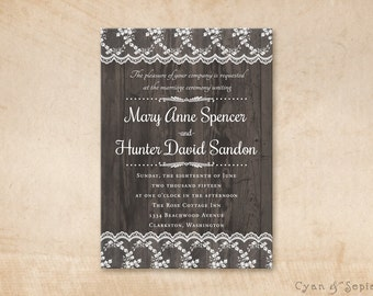 Printable Wedding Invitation - 5x7 - Wood and Lace - Vintage Rustic Nature Barn Elegant Personalized DIY - Grey Gray Brown White