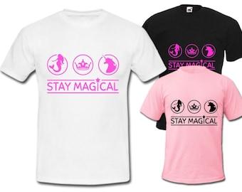 kids T-SHIRT STAY MAGICAL tshirt worldwide shipping unicorn mermaid princess girls