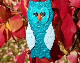 Filigree blue owl pendant