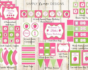 SALE Strawberry Party Package Printable DIGITAL Party