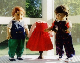 """Doll Pattern's / 18"""" Doll / Jumper / Jumpsuit / Blouses / Paint Smock / Back to School Patterns / by Carol Clements"""