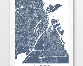 Copenhagen Map Print, Copenhagen Poster Print, Copenhagen Denmark Urban Street Map, Blue White Colors, Home Wall Office Art, Printable Decor