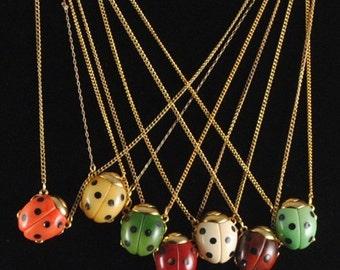 Ladybug Necklace Vintage 1960s Small GOOD LUCK Ladybug Pendant Insect Jewelry Bug Jewelry