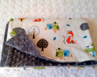 baby blanket in cotton woodland Fox OWL Hedgehog