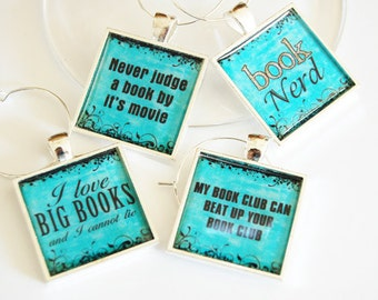 Book Club Wine Charms, Wine Glass Charms, book club, silver plate, barware, entertaining, table setting, reading, teal (2397)