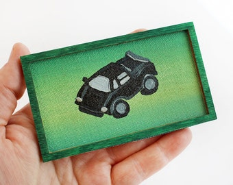 Original Miniature Artwork - Black Lamborghini
