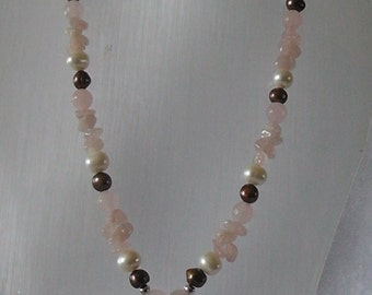White & chocolate  cultured pearls and Rose Quartz necklace and earring set