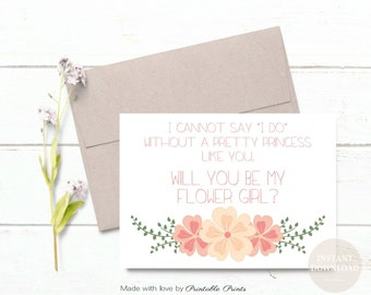 Will You Be My Flower Girl Proposal coral cream Wedding Printable Cannot Say I Do Pretty Princess  5x7 INSTANT DOWNLOAD Digital File diy
