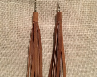 Leather Tassel Earrings, Simple and Sassy, Fringe, Perfect Gift, BFF, Birthday, Casual, Country, Western, Boho, All occasions